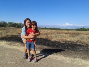 My girls and the Sierra Nevada mountains.